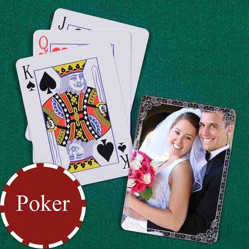 古典紫色 结婚纪念扑克牌 背面定制