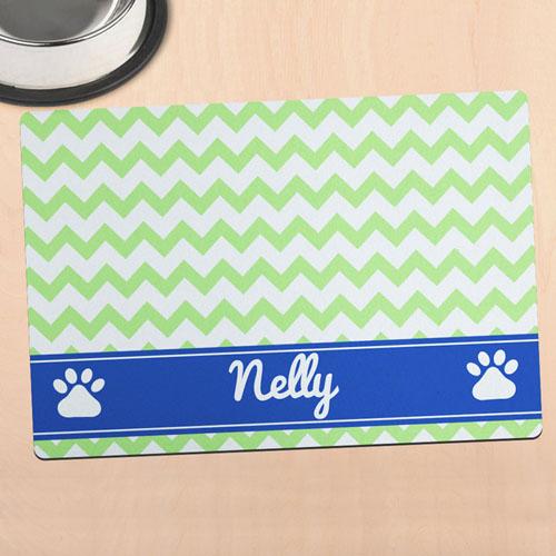 绿色条纹个性宠物餐垫