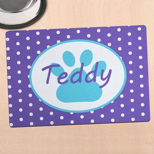 紫色圆点个性化动物脚掌餐垫