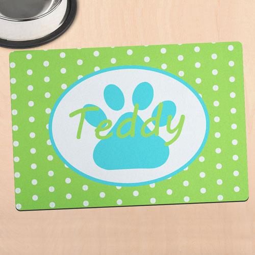 苹果绿圆点个性化动物脚掌餐垫