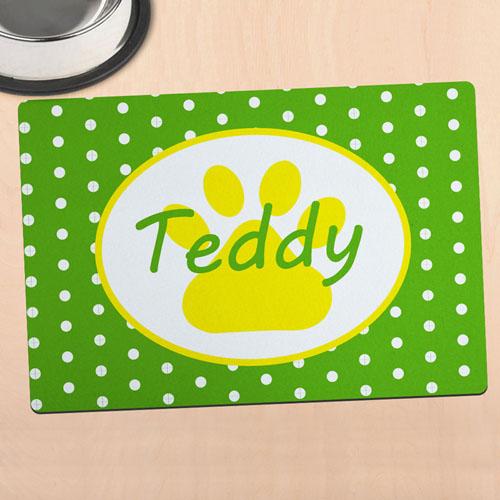 绿色圆点个性化动物脚掌餐垫