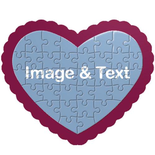 """个性心形拼图 """"心""""爱款(紫红边框)"""