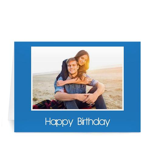 经典蓝色生日卡 个性贺卡