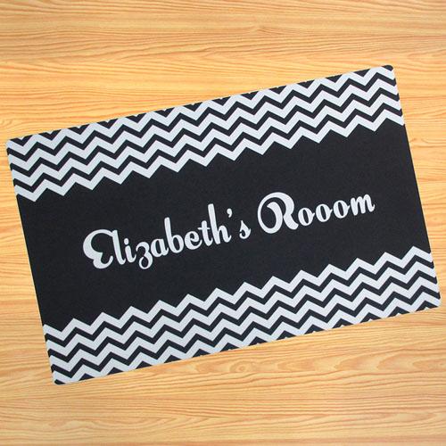 Create Your Own Personalized Black Chevron Door Mat